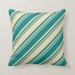 [ Thumbnail: Tan and Teal Colored Pattern of Stripes Pillow ]