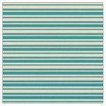 [ Thumbnail: Tan and Teal Stripes Fabric ]