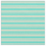[ Thumbnail: Tan and Turquoise Striped/Lined Pattern Fabric ]