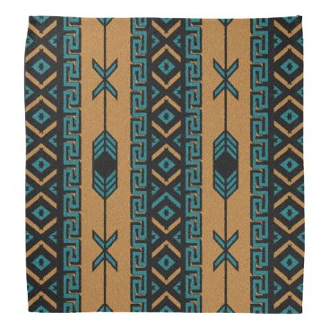Aztec Themed Tan And Turquoise Tribal Aztec Pattern Bandanna