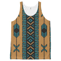 Tan And Turquoise Tribal Aztec Pattern Tank Top