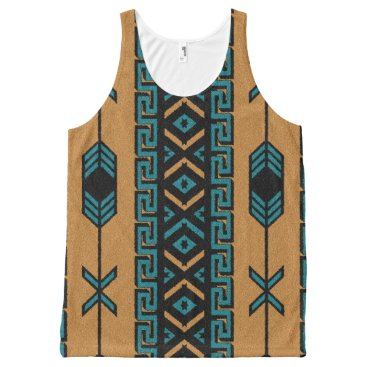Aztec Themed Tan And Turquoise Tribal Aztec Pattern Tank Top