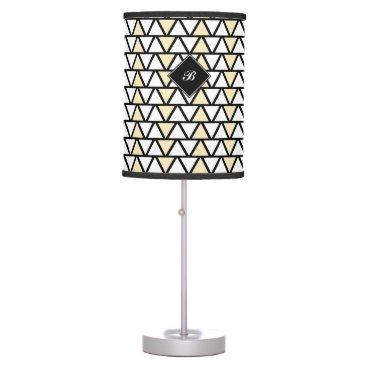 Aztec Themed Tan and White Aztec pattern Table Lamp