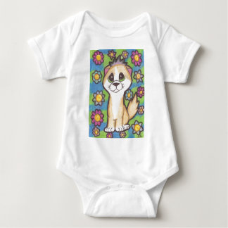 Tan and White Cat Baby Bodysuit