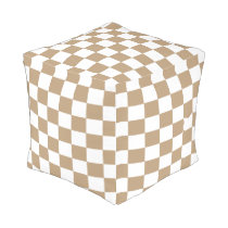 Tan and White Checkered Footstool Outdoor Pouf