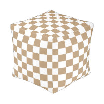 Tan and White Checkered Pouf