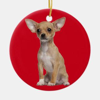 Tan and White Chihuahua Ceramic Ornament