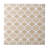 Tan and White Geometric Moroccan Lattice Pattern Ceramic Tile