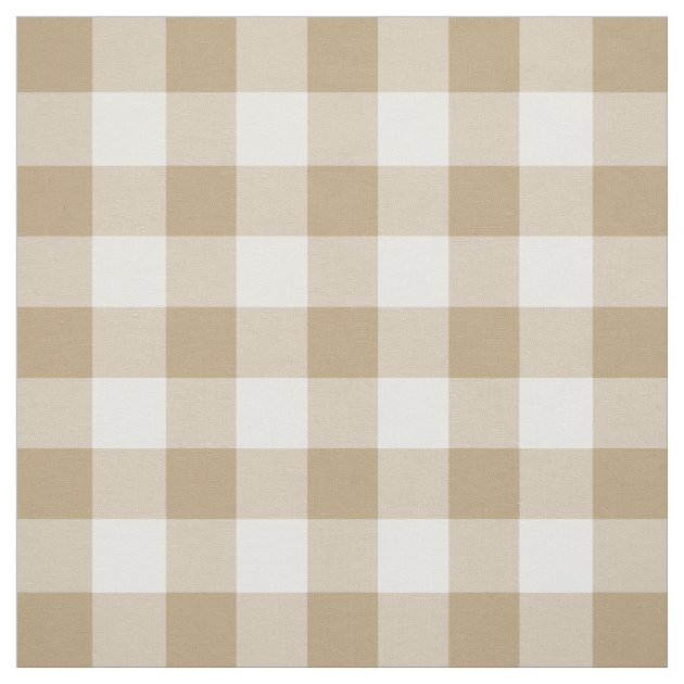 Tan and White Gingham Pattern Fabric | Zazzle