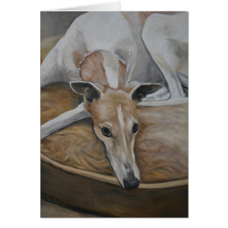 Tan and white Greyhound Dog Art Note Card
