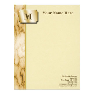 Tan and White Marble Letterhead