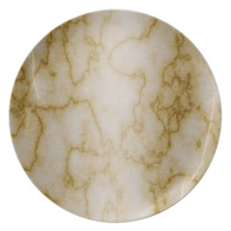 Tan and White Marble Plate