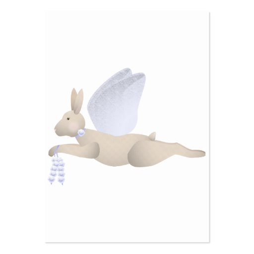Tan Angel Rabbit With Blue Wings Business Card Template