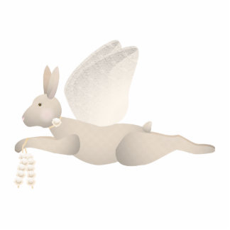 Tan Angel Rabbit With Orange Wings Cut Out