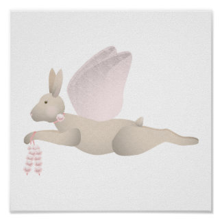Tan Angel Rabbit With Pink Wings Poster