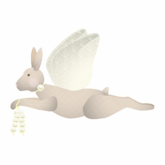 Tan Angel Rabbit With Yellow Wings Cut Outs