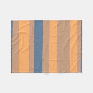 Tan Apricot Orange Dusty Blue Flecked Stripes Fleece Blanket