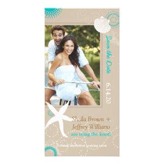 Tan Aqua White Beach Wedding Save the Date Card