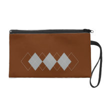 tan argyle pattern wristlet