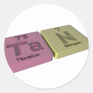 Tan as Ta Tantalum and N Nitrogen Classic Round Sticker