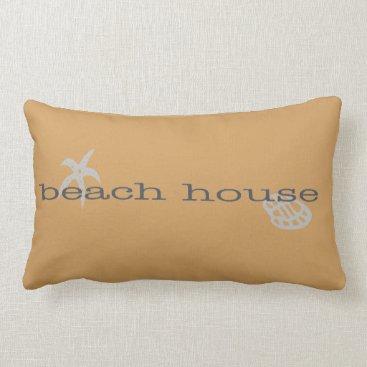 Beach Themed Tan Beach House Throw Pillow Starfish Seashell