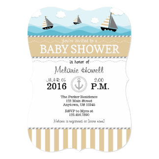 Tan Beige Blue Nautical Baby Shower Invitation