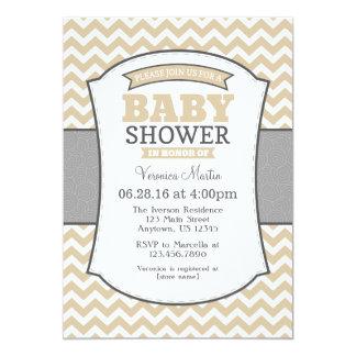 Tan Beige Gray Chevron Baby Shower Invitation