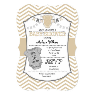 Tan Beige Gray Chevron Baby Shower Invitation