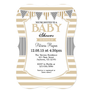 Tan Beige Gray Stripes Baby Shower Invitation