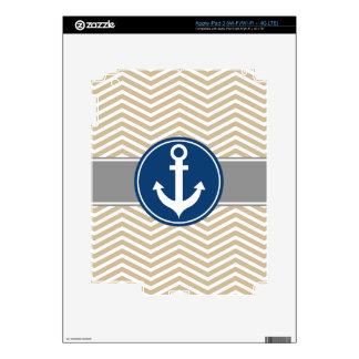 Tan Beige Nautical Anchor Chevron Decal For iPad 3