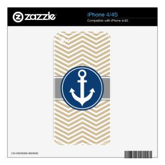 Tan Beige Nautical Anchor Chevron iPhone 4 Decals