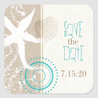 Tan Beige Teal Beach Wedding Save the Date Square Sticker