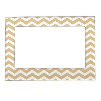 Tan Beige White Chevron Pattern Magnetic Photo Frame