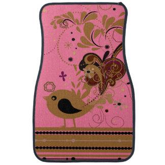 Tan Bird on Pink Car Mat