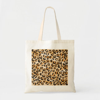 Tan Black and Brown Leopard Print Pattern Tote Bags