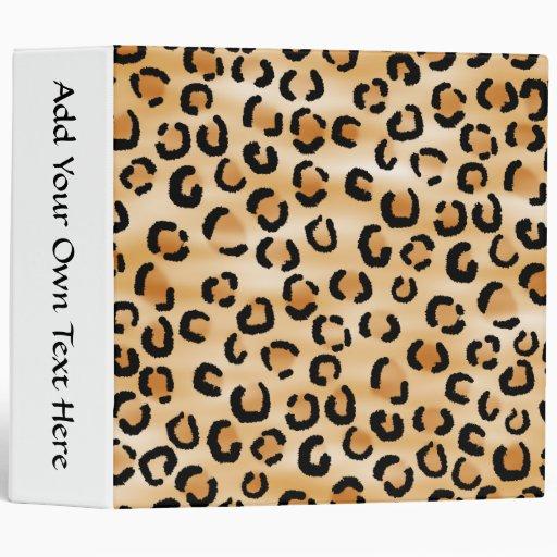 Tan, Black and Brown Leopard Print Pattern. Vinyl Binders