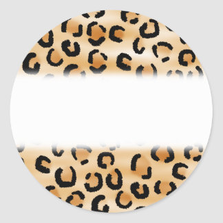Tan, Black and Brown Leopard Print Pattern. Classic Round Sticker