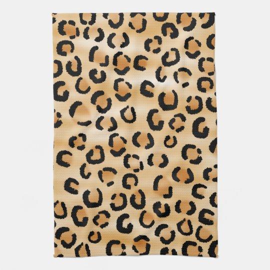 Tan, Black and Brown Leopard Print Pattern. Hand Towel