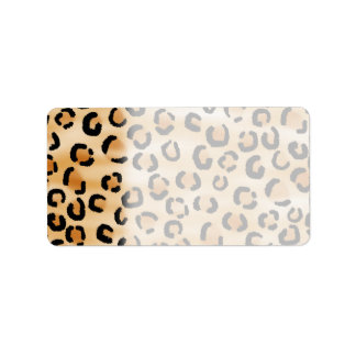 Tan, Black and Brown Leopard Print Pattern. Label