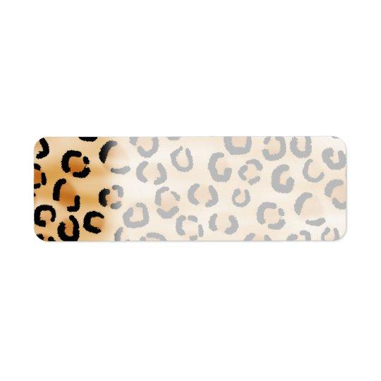 Tan, Black and Brown Leopard Print Pattern. Label