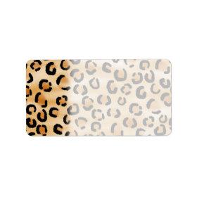 Tan, Black and Brown Leopard Print Pattern. Labels