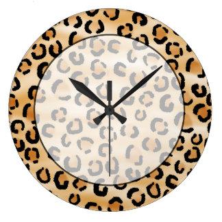 Tan, Black and Brown Leopard Print Pattern. Large Clock