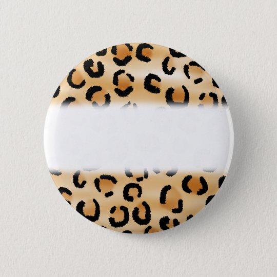 Tan, Black and Brown Leopard Print Pattern. Pinback Button