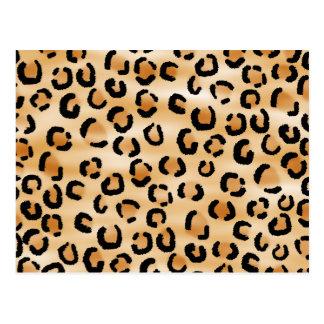 Tan, Black and Brown Leopard Print Pattern. Postcard