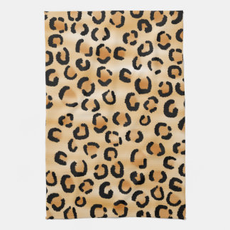 Tan, Black and Brown Leopard Print Pattern. Towels