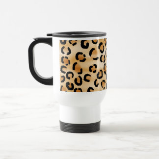 Tan, Black and Brown Leopard Print Pattern. Travel Mug