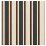 [ Thumbnail: Tan, Black, and Brown Lines/Stripes Pattern Fabric ]