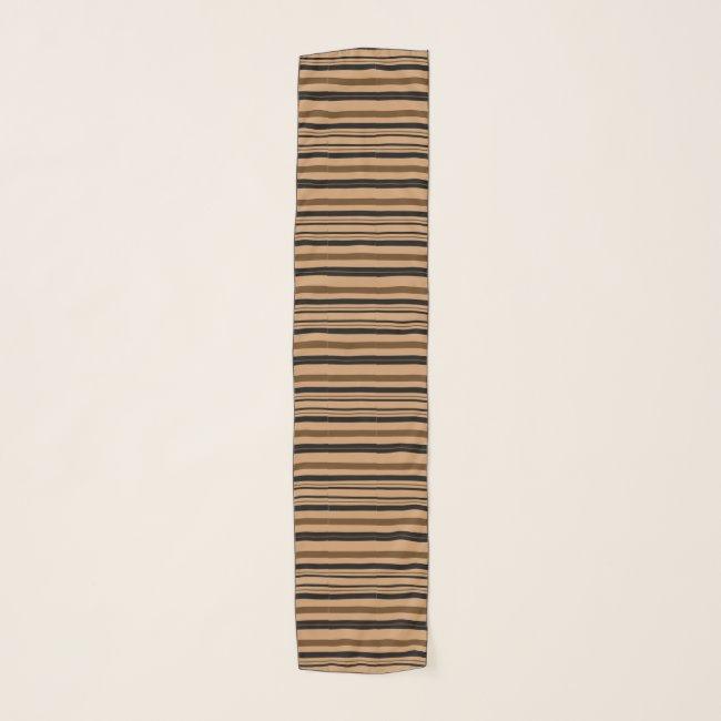 Tan Black Brown Stripes Pattern Chiffon Scarf