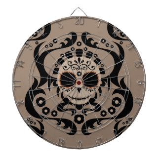 Tan Black Cartoon Sugar Skull Tribal Dartboards