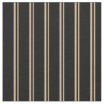 [ Thumbnail: Tan & Black Colored Lined Pattern Fabric ]